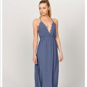 Tobi mauve purple maxi dress with lace trim